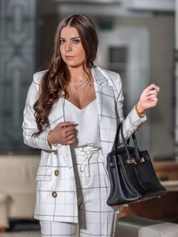Spodnie Sorento białe w czarną kratę