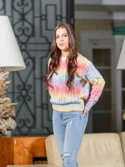 Tęczowy sweter ze splotem Multi